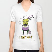 zombie V-neck T-shirts featuring Zombie by Sylwia Borkowska