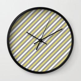 Grey and Yellow Stripe Pattern Wall Clock
