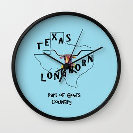 Texas Longhorn God's Country Wall Clock