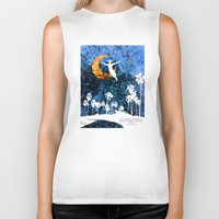 neverland Biker Tanks featuring Peter Pan flying through Neverland by Chien-Yu Peng
