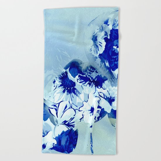 blue balloons floral Beach Towel