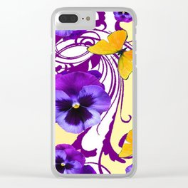 CONTEMPORARY GOLDEN BUTTERFLIES & PURPLE PANSY PATTERN Clear iPhone Case