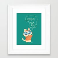 bonjour Framed Art Prints featuring Bonjour by AronDraws