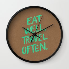 Eat Well, Travel Often on Mint Wall Clock