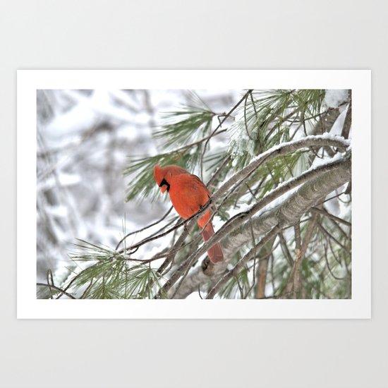 Snow Globe Cardinal Art Print