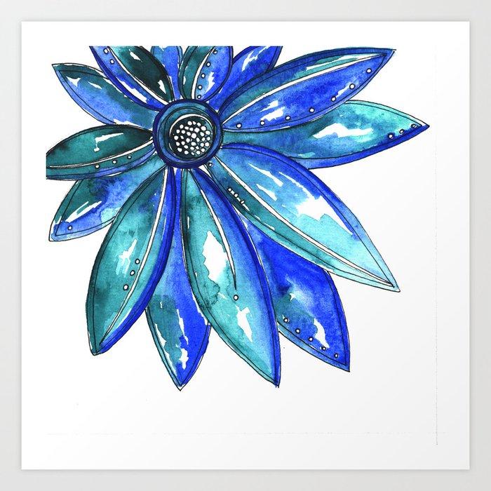 Blue Watercolor flower Art Print