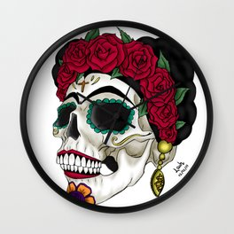 Frida khalo skull Wall Clock