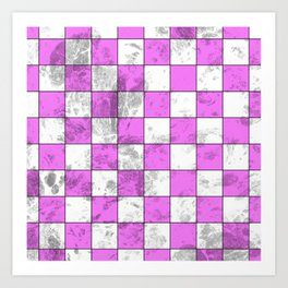 Textured Pink And White Squares Art Print