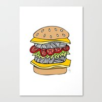 burger Canvas Prints featuring Burger by Amber Lily Fryer
