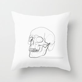 Skull Line Drawing Throw Pillow