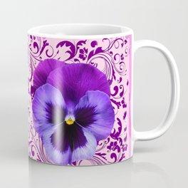PINK ART &  LILAC PURPLE PANSY SPRING FLORAL PATTERN Coffee Mug