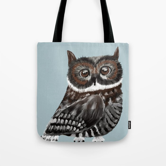 Adorable Owl In Blue Tote Bag