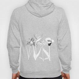 Spring Flowas Bring Girl Powas, Black and White Illustration Hoody