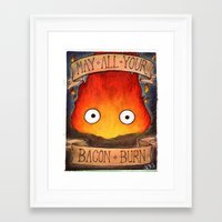 calcifer Framed Art Prints featuring HOWL'S MOVING CASTLE illustration: CALCIFER by  Siân Brierley