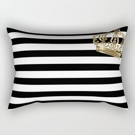 Black and White Stripes and Gold Crown 2 Rectangular Pillow