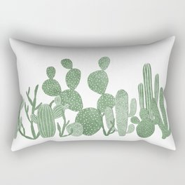 Green cactus garden on white Rectangular Pillow
