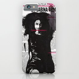 Karina - ink drawing over vintage magazine page iPhone Case