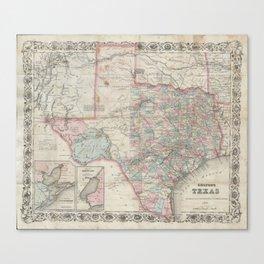Vintage Map of Texas (1870) Canvas Print