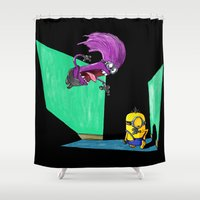 kevin russ Shower Curtains featuring Miniocidal Purple Jungle Kevin by Plane Yogurt