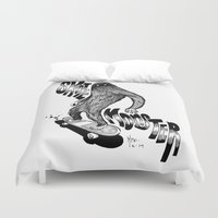 skate Duvet Covers featuring SKATE MONSTER  by MFK00 aka Alex Arizmendi