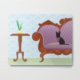 The Naughty Kitten: Polite Company Metal Print