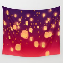 Floating Lanterns Wall Tapestry