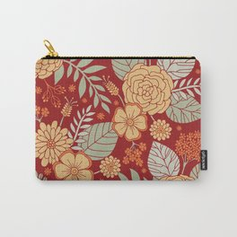 Red, Orange, Cream & Sage Green Floral Pattern Carry-All Pouch