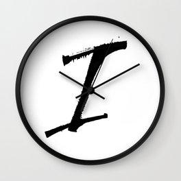 Letter I Ink Monogram Wall Clock