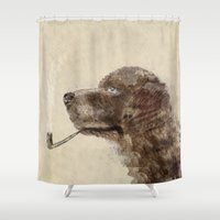 labrador Shower Curtains featuring hello labrador by bri.buckley