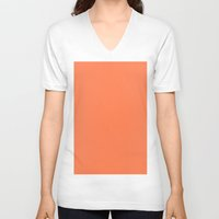 coral V-neck T-shirts featuring Coral by List of colors