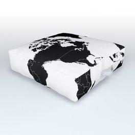 Minimalist World Map Black on White Background Outdoor Floor Cushion