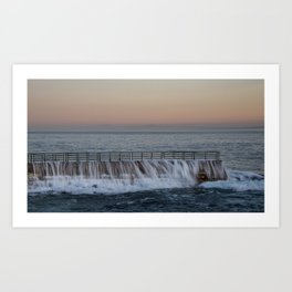 A Wave Tops the Seawall at Children's Pool, La Jolla, California. Art Print