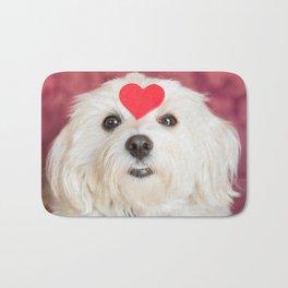 Small dog with big heart on head Bath Mat