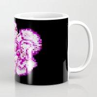 8bit Mugs featuring 8BIT flower by Alfredo Lietor