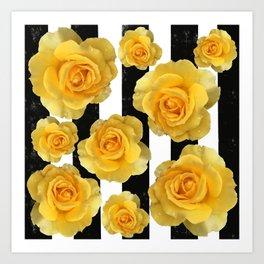 Yellow Roses on Black & White Stripes Art Print