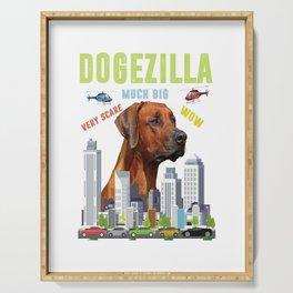 black dogezilla dog dog dogs skyline big cute Serving Tray