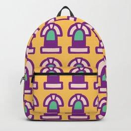 New York Windows Pattern 261 Yellow Raspberry and Green Backpack