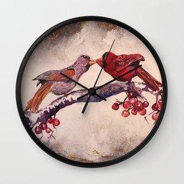 Kissing Cardinals Wall Clock