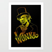 willy wonka Art Prints featuring W gold by Buby87