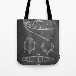 Canoe Patent - Kayak Art - Black Chalkboard Tote Bag