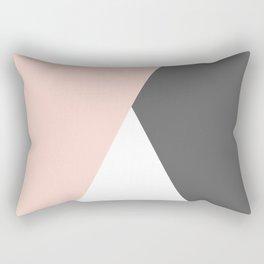 Elegant blush pink & grey geometric triangles Rectangular Pillow