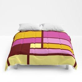 Mondrianista yellow fuchsia Comforters