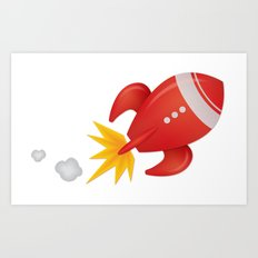 Retro Rocket Blast Off Art Print