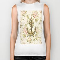 shabby chic Biker Tanks featuring romantic vintage anchor shabby chic floral by chicelegantboutique