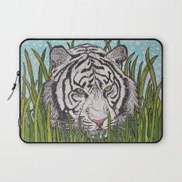 White tiger in wild grass Laptop Sleeve