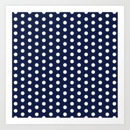 Navy Blue Polka Dot Kunstdrucke