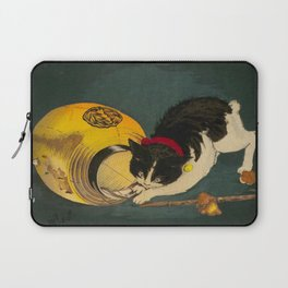 Kobayashi Kiyochika Black & White Cat Fluffy Cat Japanese Lantern Vintage Woodblock Print Laptop Sleeve