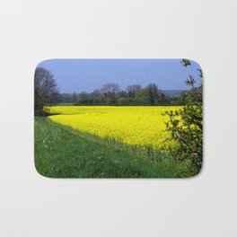 Rapeseed Field, UK  (Brassica napus Linnaeus) Bath Mat