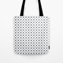 PPG Night Watch Pewter Green Thin Line Stripe Grid (Pinstripe) and Polka Dots on White Tote Bag