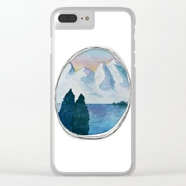Spanish Snowy Mountains over the River Clear iPhone Case